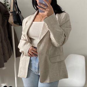 VINTAGE Beige Linen Longline Blazer -Size 46